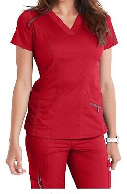 Scrub Set - Medical Surgical Hospital Uniform Scrubs Top Pants - RED