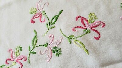 Vintage Hand Embroidered Pink ~Green Floral Crochet Edge  Pillowcase