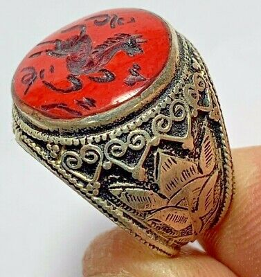SCARCE-CIRCA 200-300AD ROMAN SILVER RING SEAL HORSE INTAGLIO 9.4gr 27mm (in 19mm