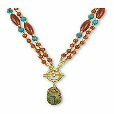 Ancient Egyptian Artifacts Scarab Red Carnelian Turquoise Toggle Necklace, 22""