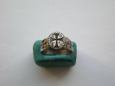 Ancient Roman-Byzantine Silver Ring With Cross