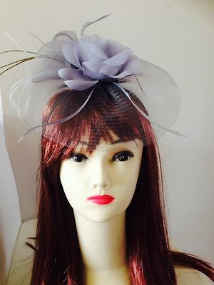 HOT Wedding Party Carnival Races Feather Millinery Fascinator Rose Hat Gray