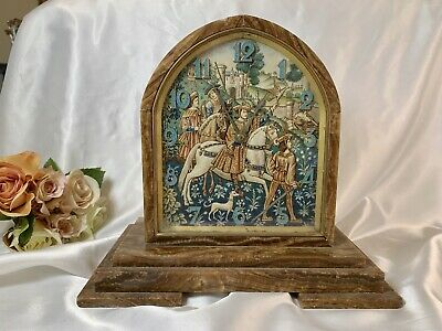 Antique Marble+Hand Painted Medieval Scene French Mantle Clock~Museum Quality