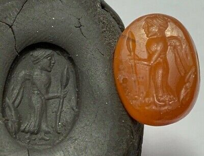 Extremely Rare Ancient Greek Circa 300-100 Bc Intaglio With Man Carnelian Stone