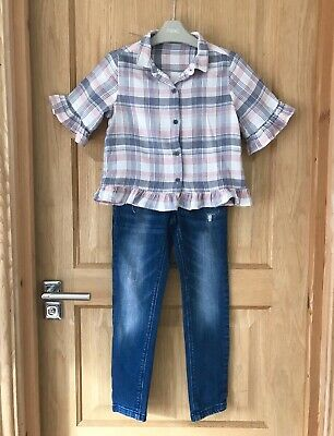 NEXT *8y GIRLS Fabulous BLOUSE SHIRT TOP RIPPED STYLE JEANS OUTFIT Age 8 YEARS