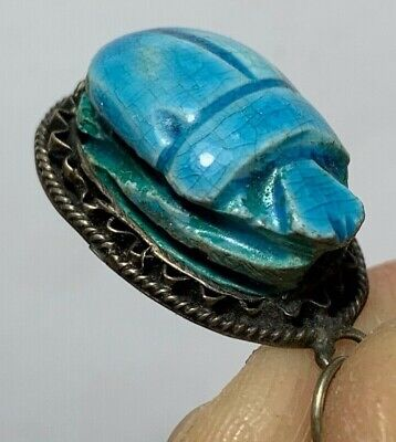 Perfect Quality - Vintage Egyptian Silver Pendant  Ancient Genuine Scarab Seal