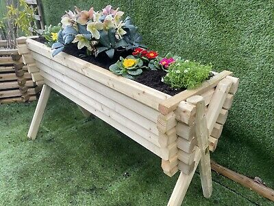 Raised V Shaped Trough Wooden Garden Planter Flowers Vegetables Pine With Legs.
