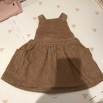 Next Cordoroy Brown Dress Baby Girl 6-9 Months