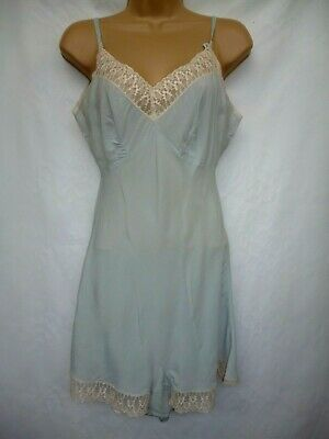 Vintage 1930'S Silk Crepe Chemise / Teddy Duck Egg Blue And Cream Lace Size 8