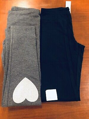 Old Navy Girls Leggings Black, Gray 2 pairs L 10 12 NWT