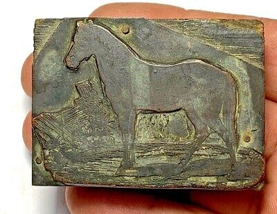 PERFECT INTACT WOOD PLAQUE WITH DESCRIPTION - HORSE UNDATED 110.6gr 64mm