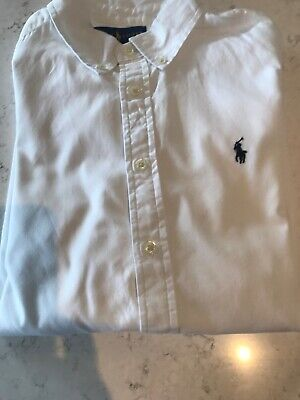 RALPH LAUREN BOYS LONG SLEEVE POLO SHIRT  White Age 14-16 Years