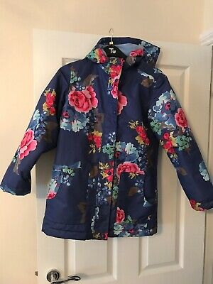 Girls Joules Navy Floral Lined Jacket Coat Age 11-12 Years