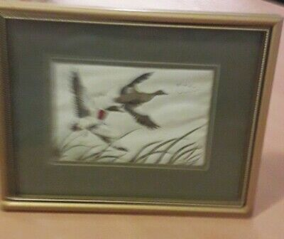 Cashes Woven Picture in a Nice Wooden Frame of some Flying MALLARD DUCKS
