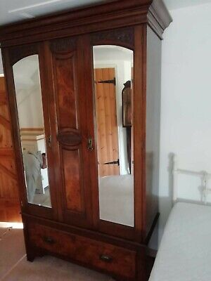 Antique edwardian walnut wardrobe and dressing table