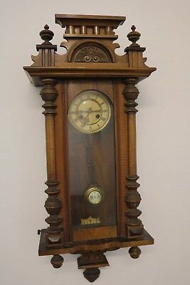Antique German / Viennese Striking Vienna Wall Clock with Pendulum Working 100%