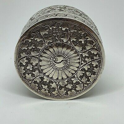 Large Antique Colonial Anglo Indian Solid Silver Round Chased Trinket Box - 92g