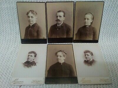 Lot of 6 FAMILY Cabinet Card Photos. Father, Mother & Daughters! Exc Cond!