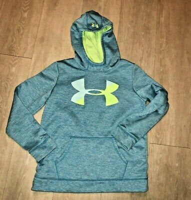 Under Armour girls Large  YLG 12 - 14 ? aqua blue BIG logo high neck hoodie