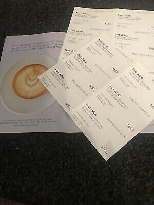 M&S Marks& Spencer Cafe Hot Drinks Vouchers X12 Value £33