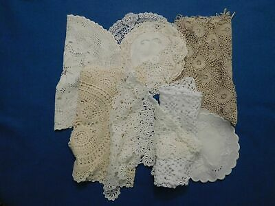 Lot of 14 Vintage Crocheted Table Linens Doilies Centers Runners