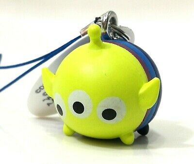 Green Alien Retractable Plush Key Holder Keychain Disney Store Japan G7