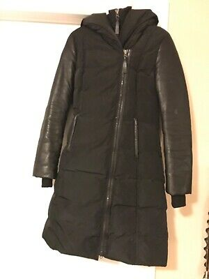 Mackage Black Bonnie Leather Sleeve Down Coat Size small Mid-Length