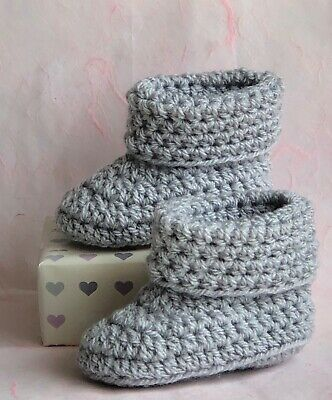 Crochet Knitted Baby Bootees Boots Booties Shoes Various Sizes - Grey