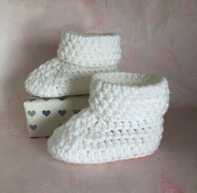 Crochet Knitted Baby Bootees Boots Booties Shoes Various Sizes - White