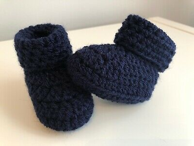 Crochet Knitted Baby Bootees Boots Booties Shoes Various Sizes - Navy Blue