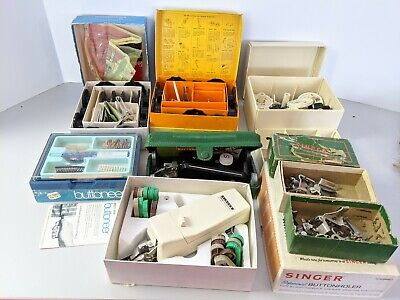 Vintage Singer Sewing Machine Accessories, Buttonholer And More huge lot!