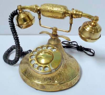 Beautiful Nautical Solid Brass Rotary Dial Home Decor Working Telephone