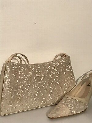 Size 5 Carvella Ivory Lace Slingback Shoes And Bag Vegan Freindly Wedding Races