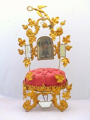 "19"" Large Antique French Gold Gilt Ormolu Brides Wedding Crown Tiara Globe Chair"