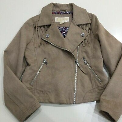 Girls beige faux suede biker style jacket by Michael Kors age 7 - 8 years BNWOT