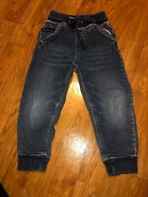 next boys blue cuffed leg pull up jeans age 3-4 years vgc