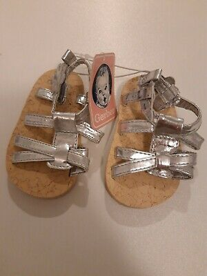 NEW Gerber Baby Girl Silver Stepping Stones Strappy Sandals size 6-9 months