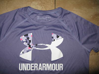 Under Armour Girls' Solid Big Logo Short Sleeve T-Shirt Purple