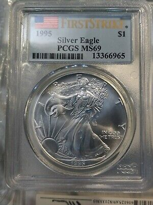 """1995 """"First Strike"""" American Silver Eagle Dollar PCGS MS69 S$1"""