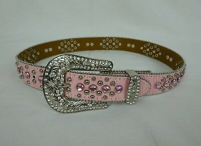 NOCONA  Croc Embossed Pink Leather Belt w/ Silver & Pink Rhinestone Hearts ~ 24