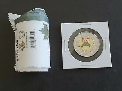 2019 Canada 75th D-Day COLOURED UNC $2 Two Dollar Coin - From Original Roll