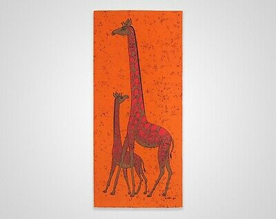 Vintage 1960s 1970s HUGE Giraffe & Calf Fabric Screenprint Wall Hanging - Signed