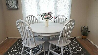 Solid Pine Round Grey Dining Table 4 Chairs Light Grey Up-Cycled Painted Kitchen