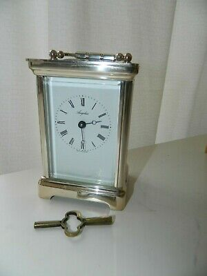 Rare Angelus  Antique Silver Plated Carriage Clock With Key