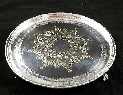 Beautiful Quality Antique Victorian Silver Plated Footed Salver Serving Tray