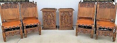 10 Pc 19th Cent Spanish Revival Mission Leather Hand Carved Dining Set 8 Chairs