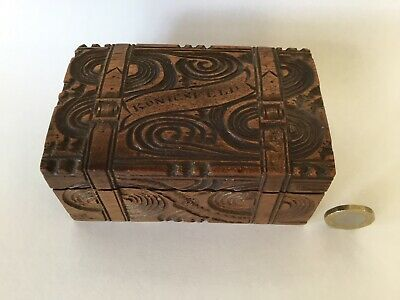Antique Black Forest Carved Wooden Box Belt Buckles Wood Carving Folk Art 19th C