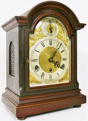 Antique 8 Day Mahogany Bracket Clock Musical Westminster Chime Mantel Clock