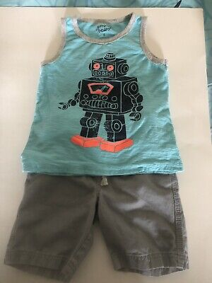 Jumping Bean Boys short and shirt Robot outfit size 6