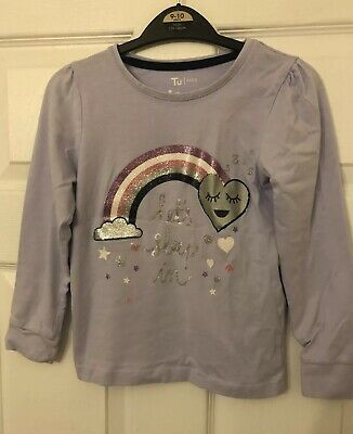 "TU Kids Girls Aged 7-8 Years""lets Sleep In"" Cute Rainbow Heart Pyjama Lilac Top"